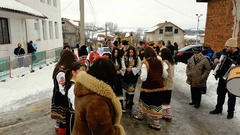 Bulgarian folk dance on Surva ritual in UND 4K Stock Footage