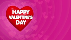 Happy Valentines Day background, text on the red big heart Stock Footage