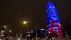 Torre Agbar in Barcelona. Spain. Night. 4K. Stock Footage