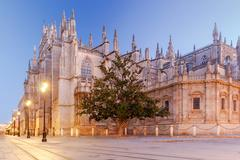 Sevilla. Cathedral in the early morning Stock Photos