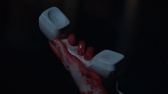 Victim with bloody hands finding telephone line cord disconnected, horror Stock Footage
