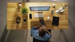 Top View of a Time-Lapse of a Whole Working Day of a Creative Designer. Stock Footage