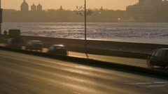 Beautiful view of the seafront in the mist, which going cars with lights at Stock Footage