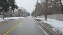 Driving on Lakeshore Road East in winter. Oakville, Ontario, Canada. Stock Footage