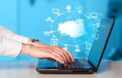Hand working with a Cloud Computing diagram Stock Photos