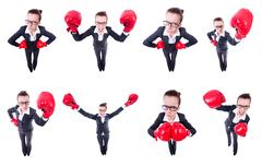 Collage of funny businesswoman on white Stock Photos