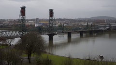 Daytime time lapse of Hawthorne Bridge in Portland, Oregon. Stock Footage