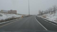 Generic winter onramp. No logos. Mississauga, Ontario, Canada. Stock Footage