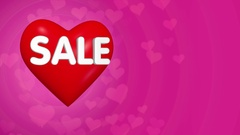 Valentines day sale concept background, big red heart with text Stock Footage