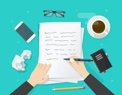 Writer writing on paper sheet, workplace, author desktop, write letter Stock Illustration