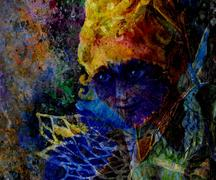 Mysterious fairy face with blue flower mask, painting collage Stock Illustration
