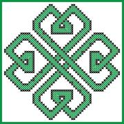 Celtic  endless knot in clover with hearts elements Stock Illustration