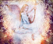 Beautiful gentle angel playing harp sitting on cloud, collage with leaf Stock Illustration