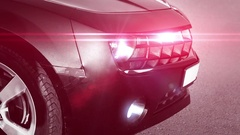 Luxury black police sport car. Red and blue array of lights. Xenon headlamps Stock Footage