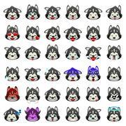 Siberian Huskies Dog Emoji Emoticon Expression Stock Illustration