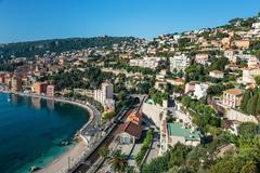 Panoramic view of Cote d'Azur near the town of Villefranche-sur-Mer Stock Photos
