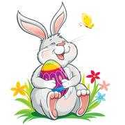 Llovely laughing bunny sitting on grass and holding painted easter egg Stock Illustration