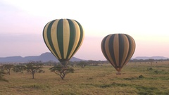 CLOSE UP: Safari hot air balloons full of happy tourists rising above the ground Stock Footage