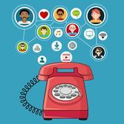 Red telephone communication people social media items Stock Illustration