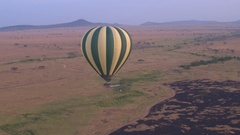 AERIAL: Safari hot air ballon landing on scorched savanna grassland field Stock Footage