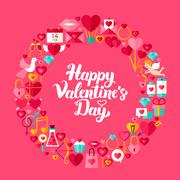 Valentines Day Flat Circle Objects Stock Illustration