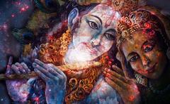 Krishna and Radha, beautiful hindu divine couple, painting collage Stock Illustration