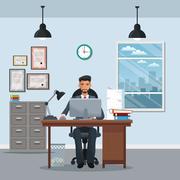 Man sitting workplace cabinet file desk laptop window clock Piirros