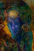 Blue dreamy prophet whispering his words, fantasy illustration Stock Illustration