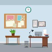 Office workspace desk table potted plant clock notice board trash can laptop Stock Illustration