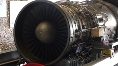 Old Aircraft Engine Exposition at Motor Show Stock Footage