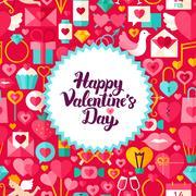 Flat Valentines Day Postcard Stock Illustration