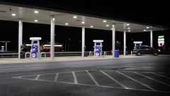 Gas Fuel Station on American Highway at Night Stock Footage
