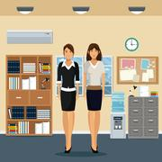 Women office work standing cabinet file cooler water bookshelf notice board and Stock Illustration