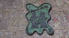 Vintage emblem on the wall of an old house. Barcelona. Spain. 4K. Stock Footage