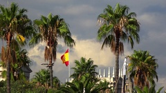 Spanish flag in Barcelona. 4K. Stock Footage