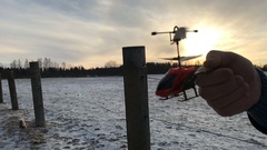 Radio control toy helicopter crashes Stock Footage