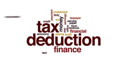 Tax deduction animated word cloud, text design animation. Stock Footage