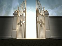 Heavens gates opening walk towards new 4K EX Stock Footage