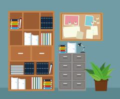 Office furniture cabinet file potted plant notice board Stock Illustration