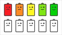 Battery indicator smiley icons Stock Illustration