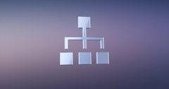 Hierarchy Network Silver 3d Icon Stock Footage