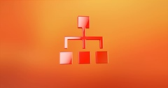 Hierarchy Network Red 3d Icon Stock Footage