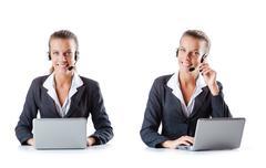 Call center assistant responding to calls Stock Photos