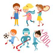 Young kids sportsmens isolated on white vector illustration Stock Illustration