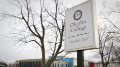 Establishing Shot of Oberlin Ohio College Sign - Close up Stock Footage