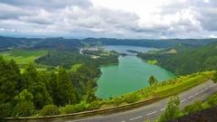 Sete Cidades lake, Sao Miguel island, Azores, Portugal Stock Footage