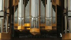 Large pipes of organ before concert, static shooting 4K Stock Footage