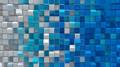 White blue gradient cubes 3D render loopable animation 4k UHD (3840x2160) Stock Footage