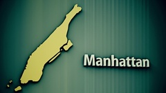 4K Manhattan Map Shape with Matte 3D Animation 2 Stock Footage