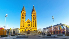 Co-Cathedral of Our Lady in Nyiregyhaza city, Debrecen Stock Footage